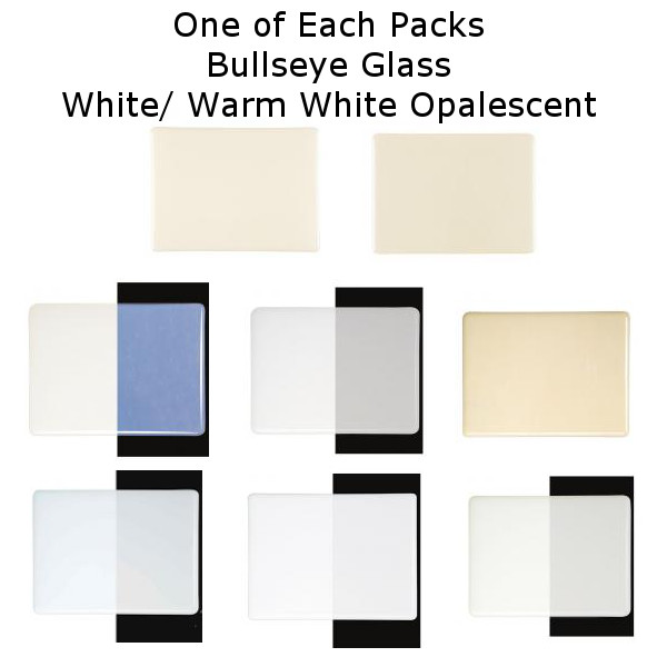 White Opalescent Glass : One of each glass packs bullseye white opalescent mm coe