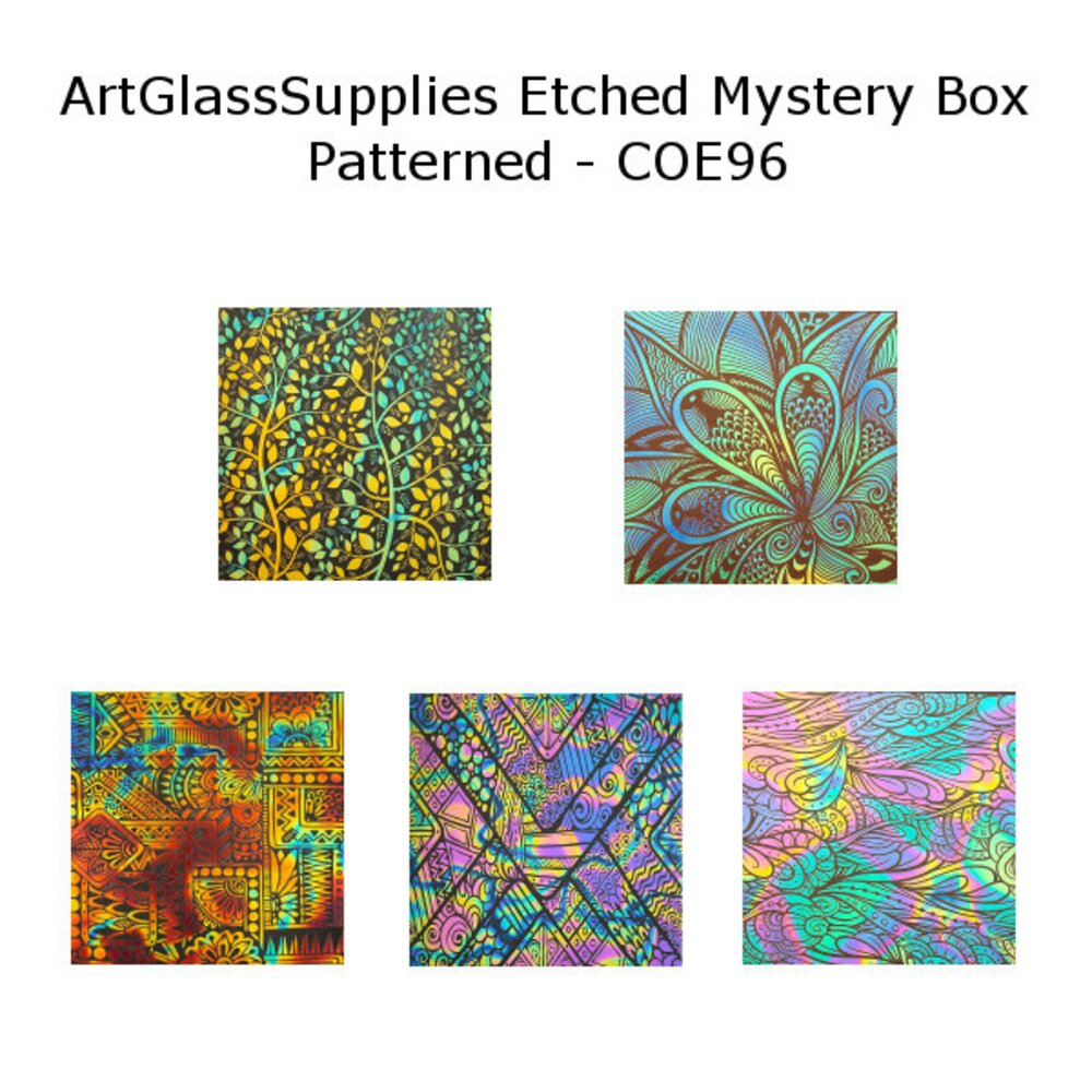 ArtGlassSupplies.com Etched Dichroic Mystery Box Patterned Glass COE96