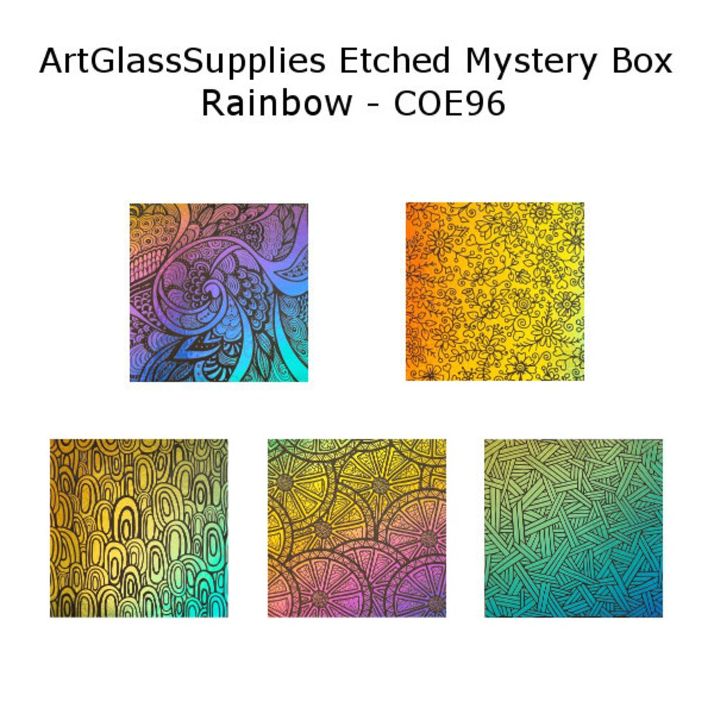 ArtGlassSupplies.com Etched Dichroic Mystery Box Rainbow Color Glass COE96