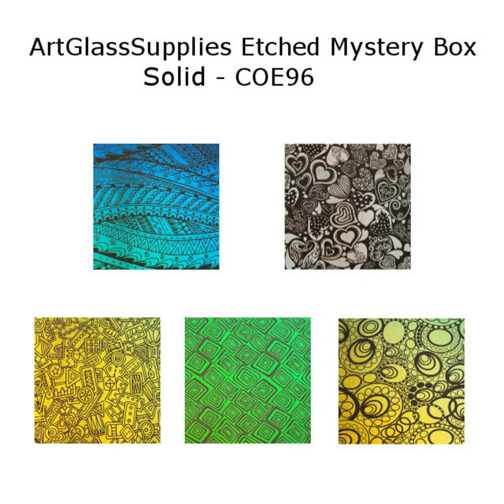 ArtGlassSupplies.com Etched Dichroic Mystery Box Solid Color Glass COE96