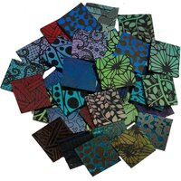 ArtGlassSupplies.com Etched 1 x 1 CBS Dichroic Solid Squares on Thin Black Glass. Mixed Lot of 20 Squares Per Pack. - COE90