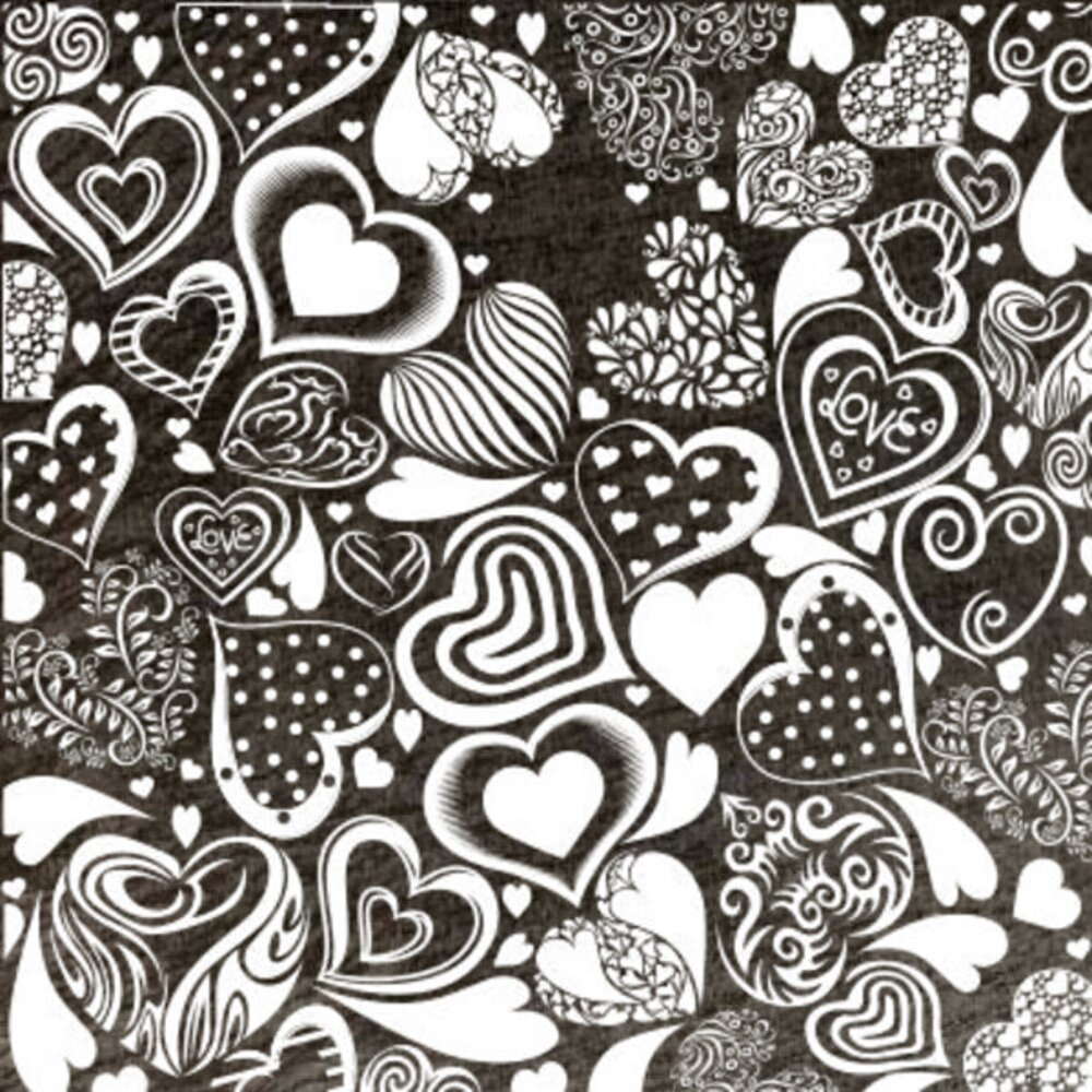Etched Crazy Hearts Pattern