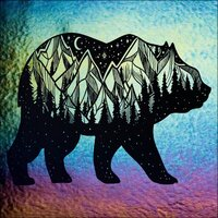 ArtGlassSupplies.com Etched Iridescent Bear Pattern COE90