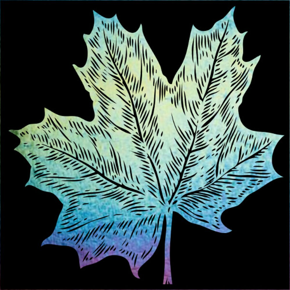 ArtGlassSupplies.com Etched Iridescent Maple Leaf Pattern COE90
