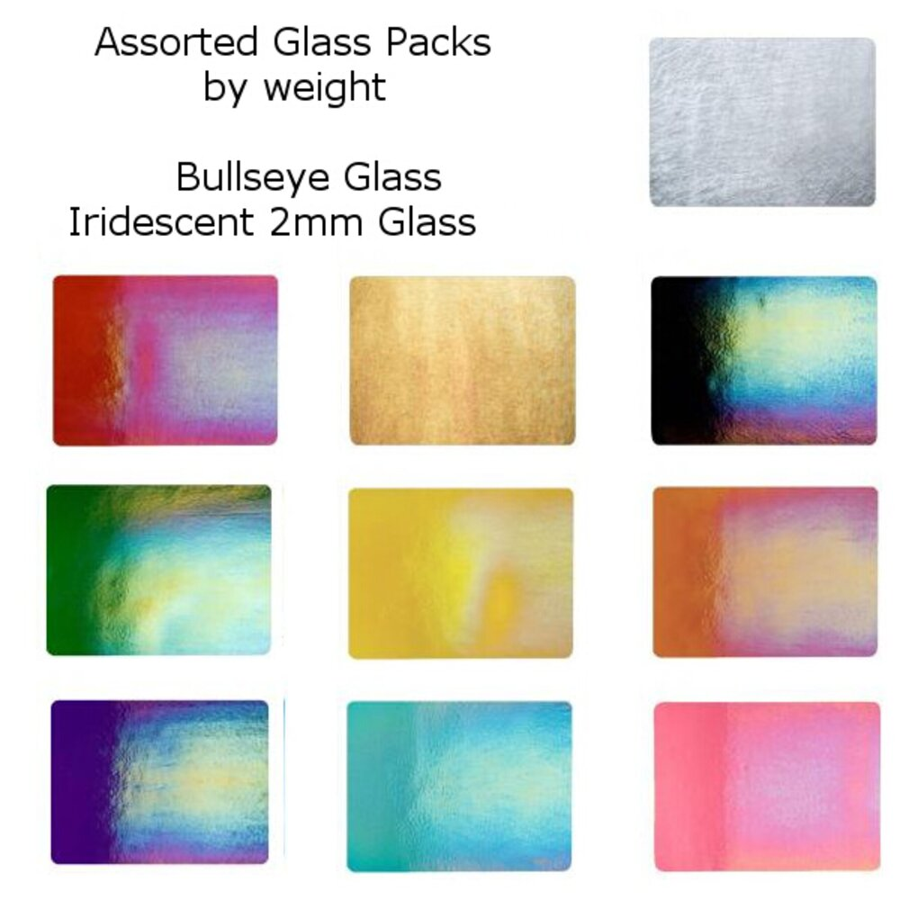 Assorted Iridescent Bullseye Glass Packs by the Pound, 2mm  2 lbs. COE90