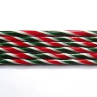 Aventurine Green, Cherry Red, & White Striped Glass Cane COE96