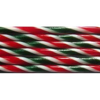 Aventurine Green, Red and French Vanilla Striped Glass Cane COE90