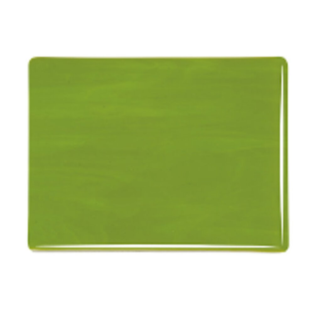 Bullseye Glass Avocado Green Opalescent, Thin-rolled, 2mm COE90