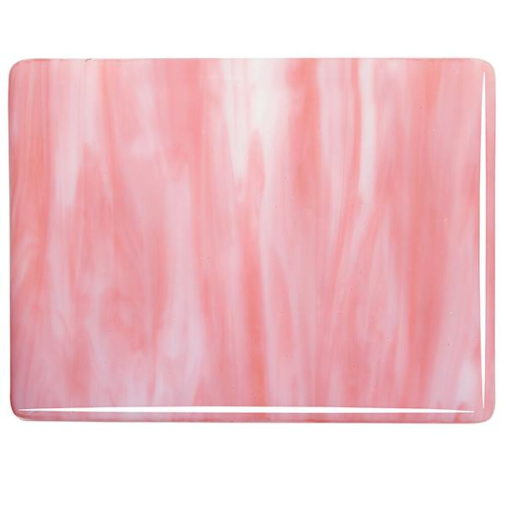 Bullseye Glass White Opal, Salmon Pink Opal Streaky, Double-rolled, 3mm COE90