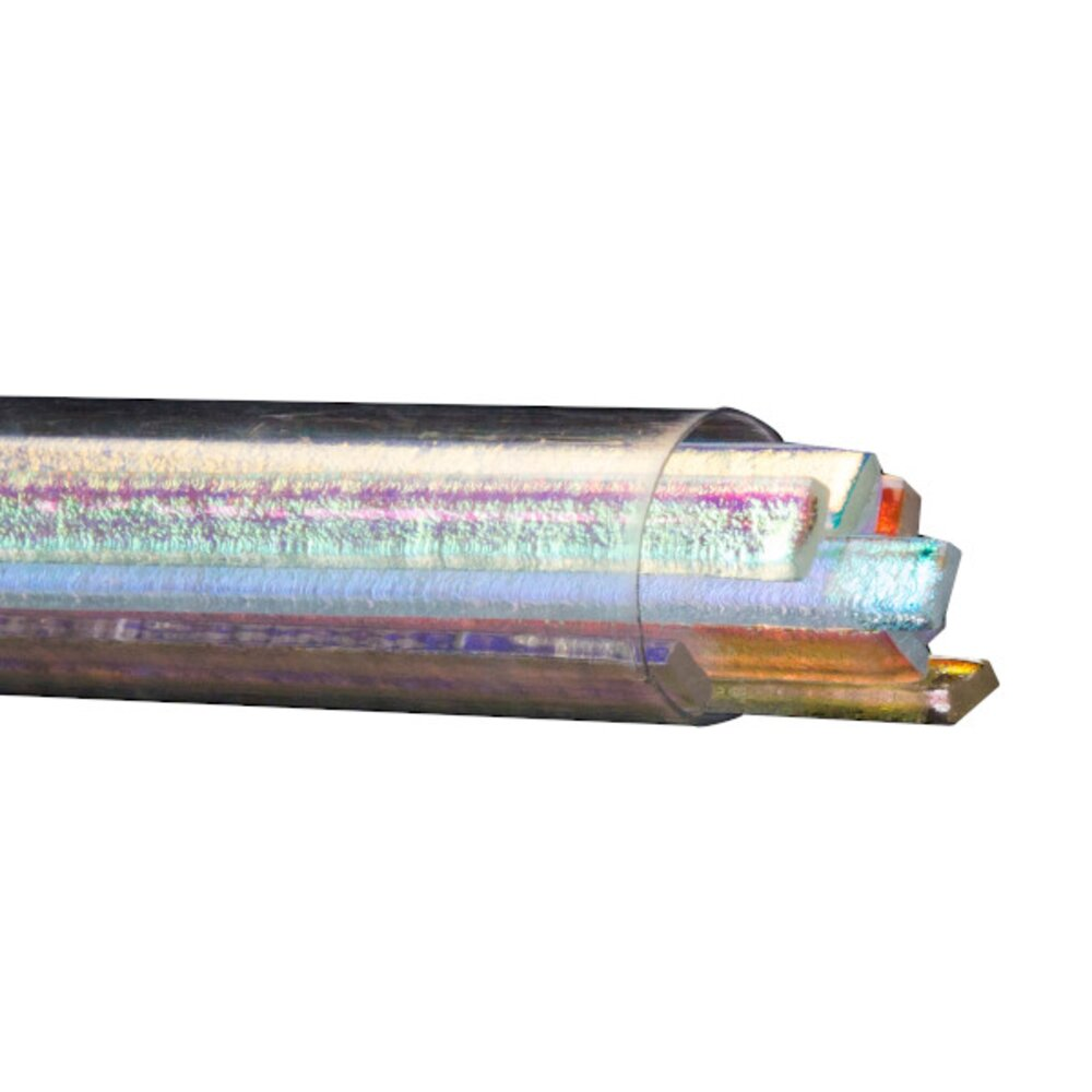 Bullseye Glass Dichroic Sizzle Stix, Clear, Mixed Colors, 6mm width COE90