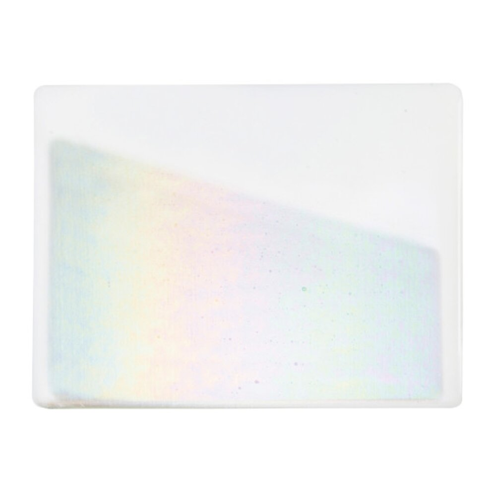 Bullseye Glass White Opalescent, Rainbow Iridescent Thin-rolled, 2mm COE90