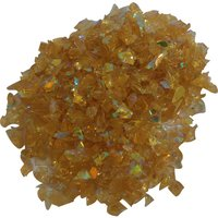 CBS Cyan/ Red Dichroic Frit 1oz on Orange Transparent Glass COE96