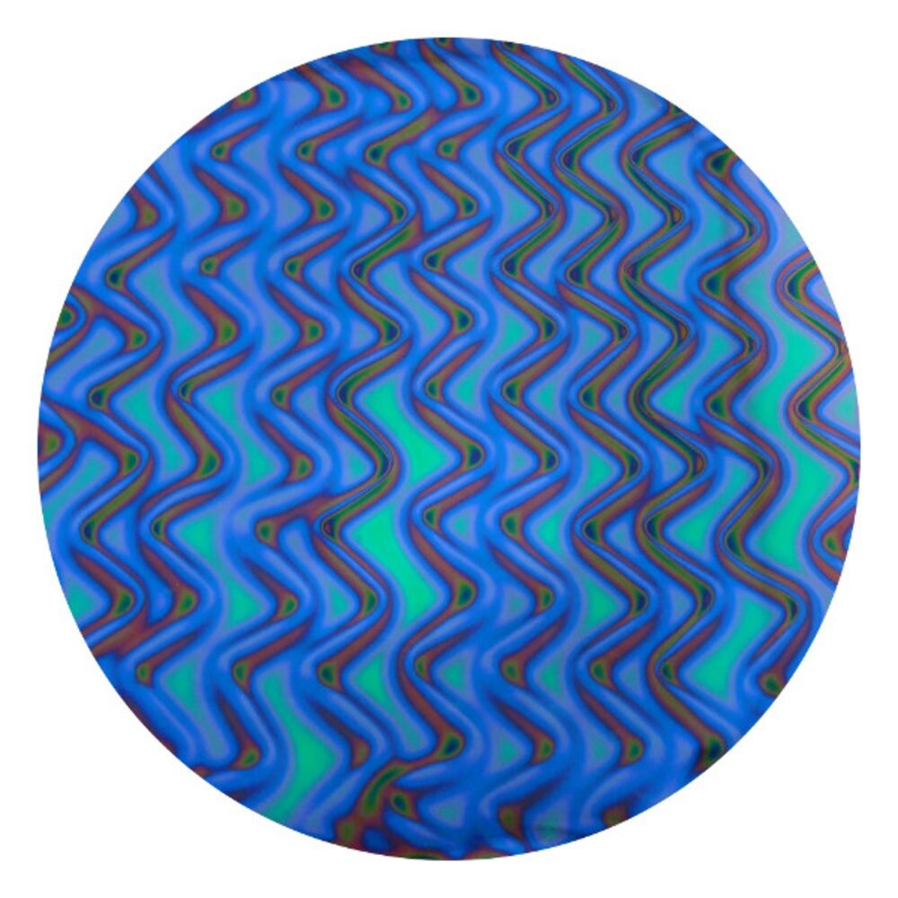 CBS Dichroic Coating Aqua Twizzle Pattern on Thin Black  Glass COE96