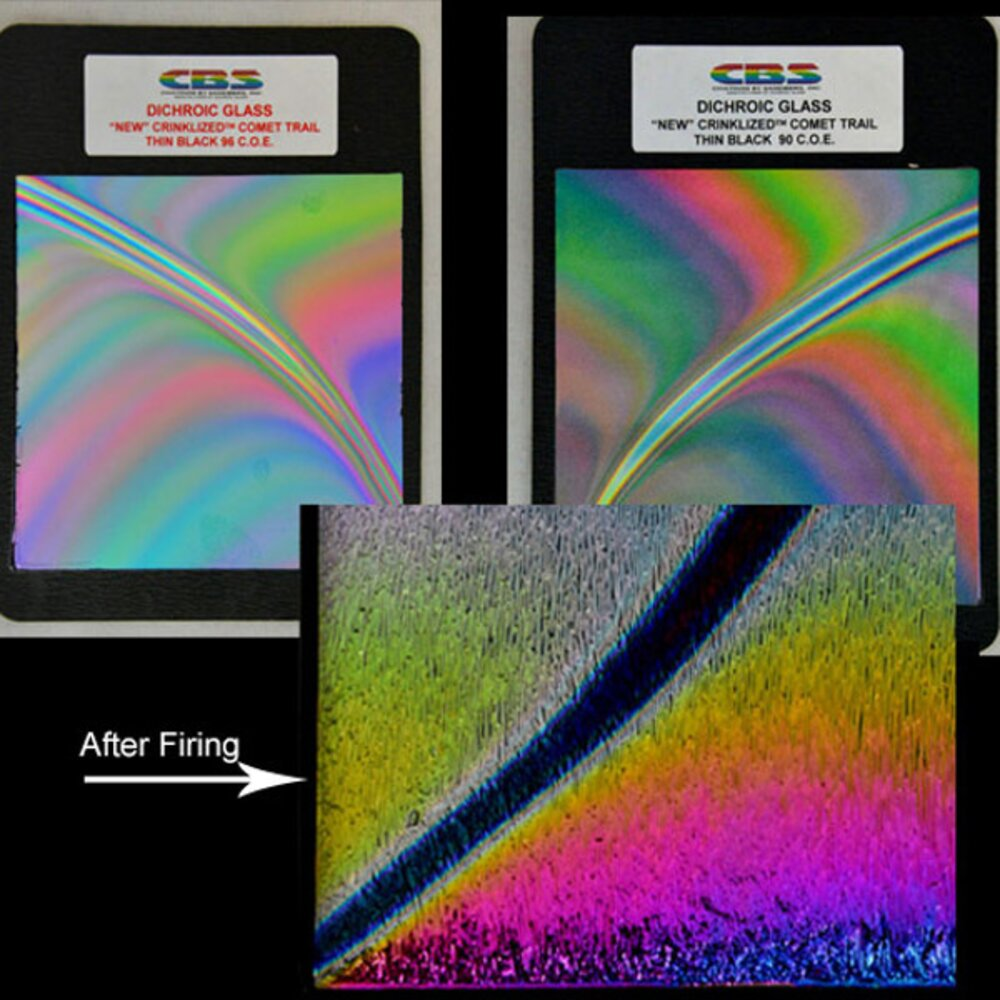 CBS Dichroic Crinklized Comet Trail Pattern on Thin Glass COE90