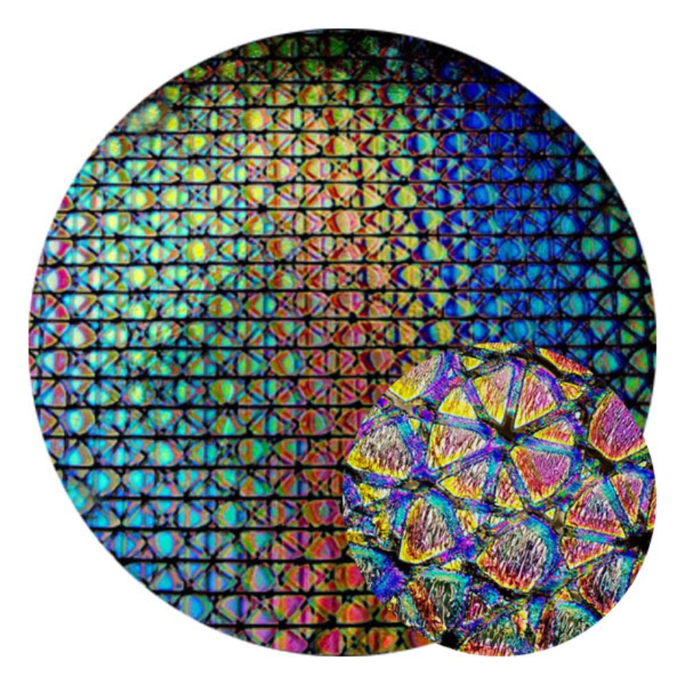 CBS Dichroic Coating Crinklized Mixture Geodesic Pattern on Thin Clear  Glass COE96
