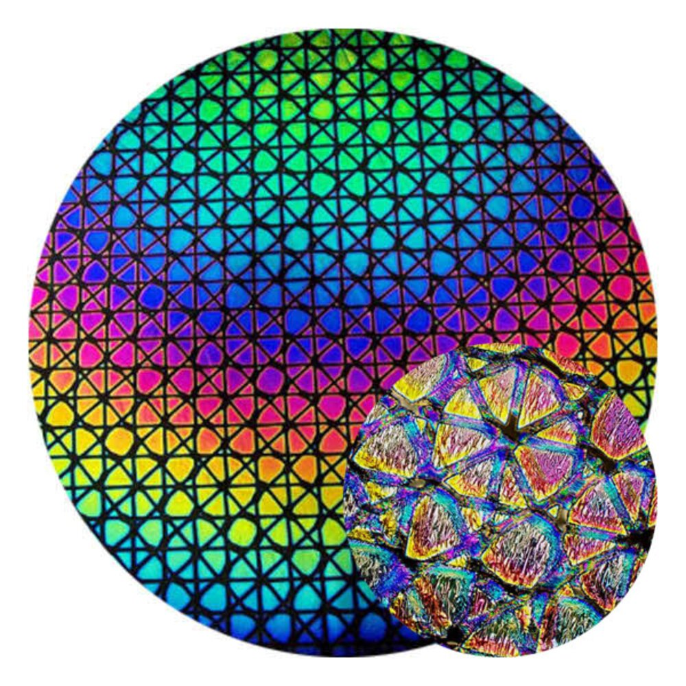 CBS Dichroic Coating Crinklized Rainbow Geodesic Pattern on Thin Black Glass COE90