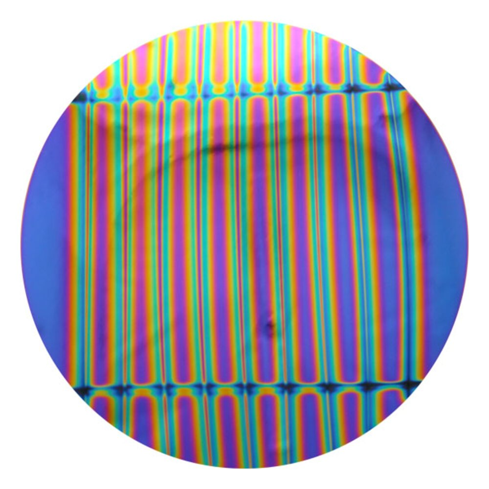 CBS Dichroic Coating Green/ Magenta Blue 1.5 Stripes Pattern on Thin Clear Glass COE90