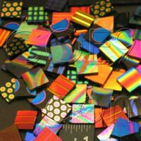 1/2 x 1/2 CBS Dichroic Patterned Squares on 2mm Thin Glass. Mixed Lot of 20 Squares Per Pack. COE96