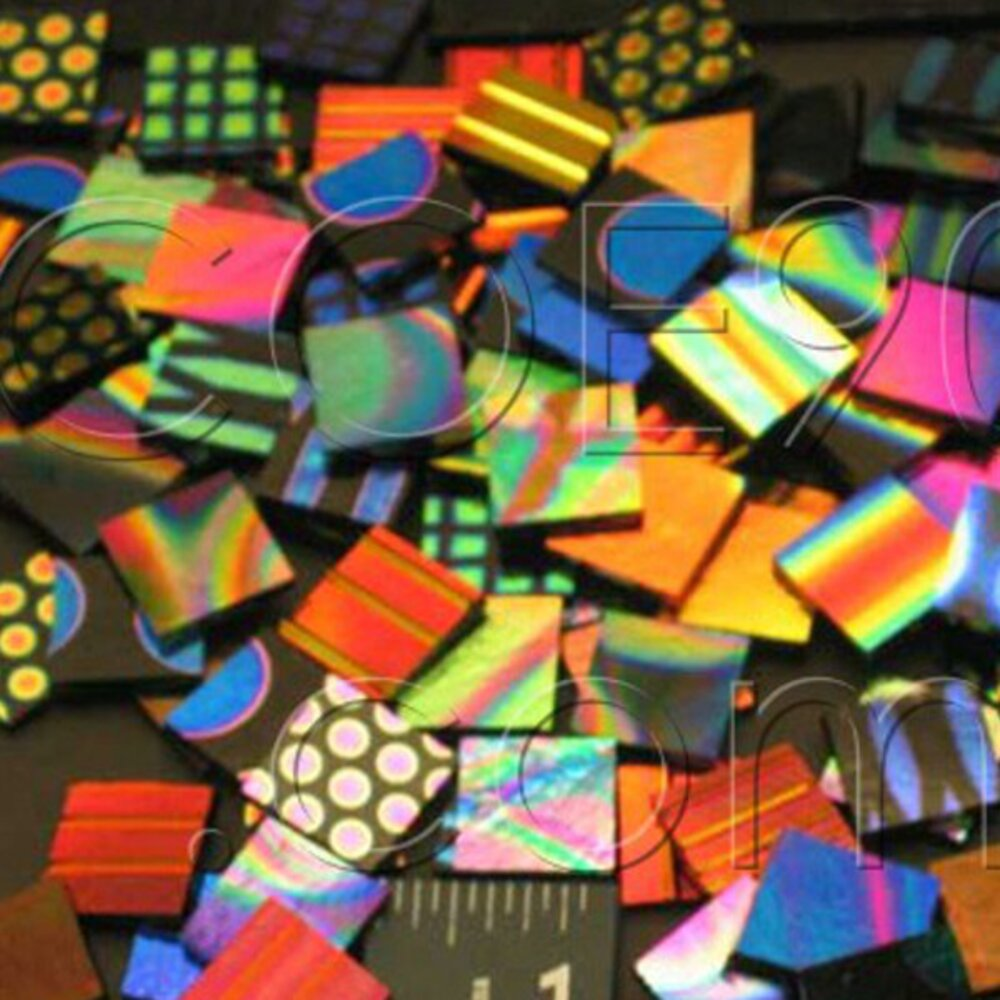 1 x 1 CBS Dichroic Patterned Squares on 2mm Thin Glass. Mixed Lot of 20 Squares Per Pack. COE96