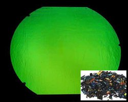 CBS Emerald Dichroic Frit 1oz On Black Glass - COE96