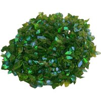 CBS Emerald Green Dichroic Frit 1oz on Green Transparent Glass - COE96