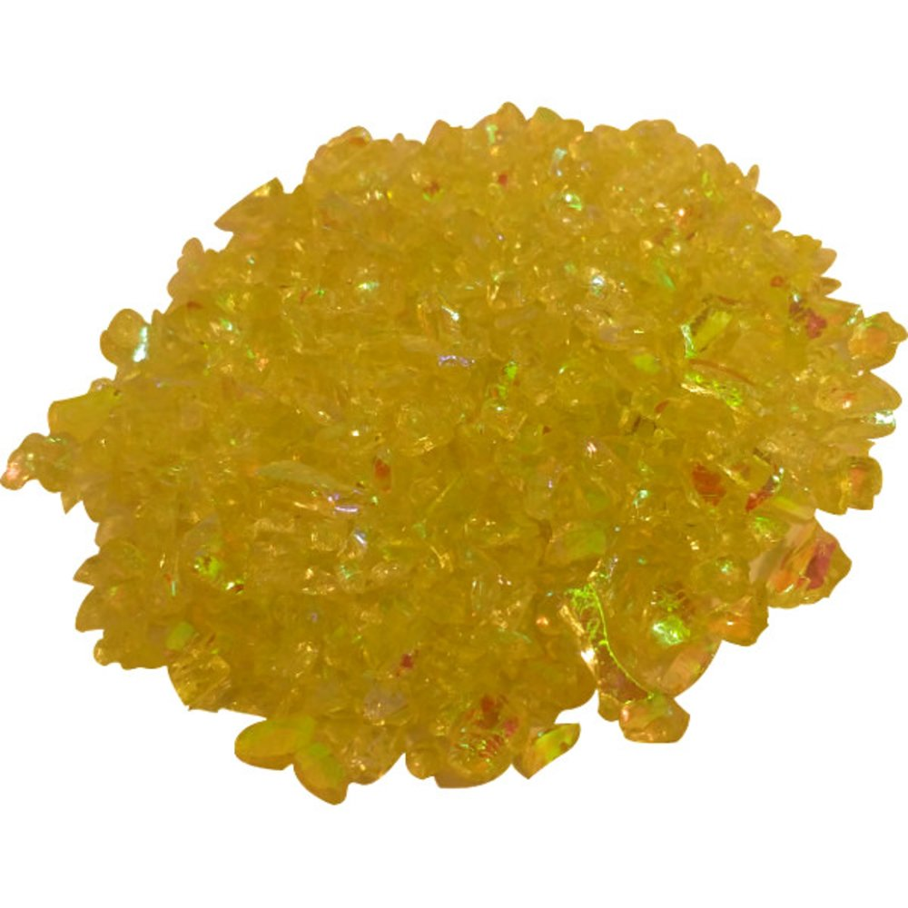CBS Emerald Green Dichroic Frit 1oz on Yellow Transparent Glass COE90