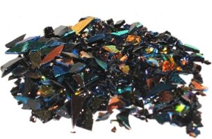 CBS Mixed Dichroic Frit 1oz On Black Glass - COE96
