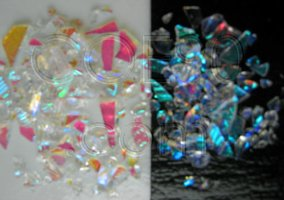 CBS Pink / Teal Dichroic Frit 1oz On Clear Glass - COE90