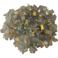 CBS Rainbow 1 Dichroic Frit 1oz on Gray Tint Transparent Glass COE90