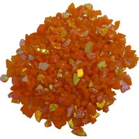 CBS Rainbow 1 Dichroic Frit 1oz on Orange Opalescent Glass COE90
