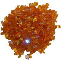 CBS Rainbow 1 Dichroic Frit 1oz on Orange Transparent Glass COE90