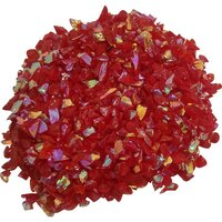 CBS Rainbow 2 Dichroic Frit 1oz on Red Opalescent Glass - COE96