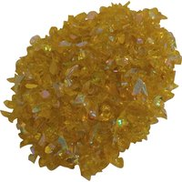 CBS Rainbow 2 Dichroic Frit 1oz on Yellow Transparent Glass COE96