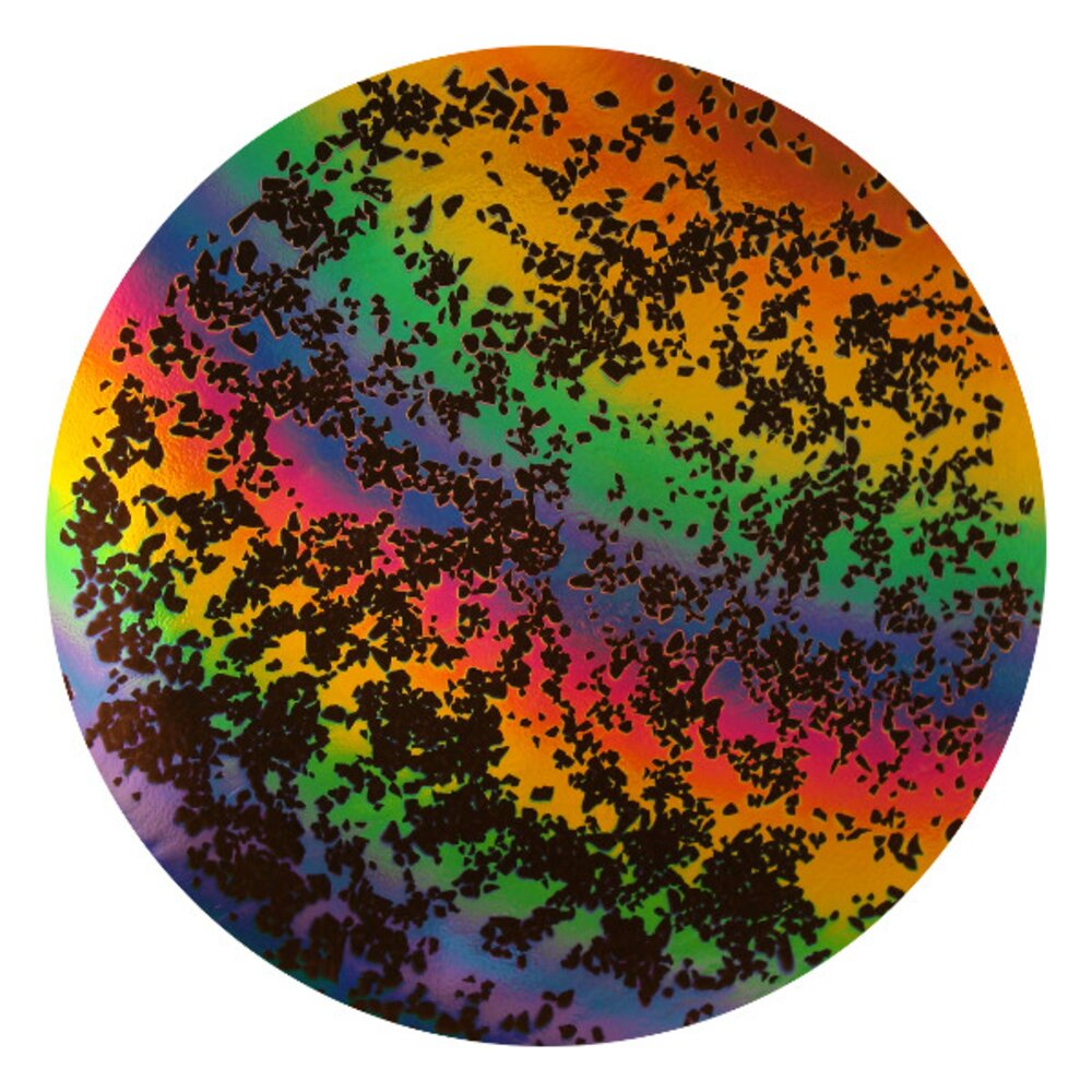 CBS Dichroic Coating Rainbow 2 Splatter Pattern on Thin Black Glass COE90