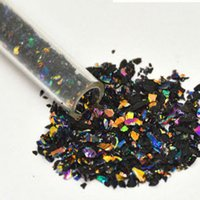 CBS Rainbow Dichroic Frit Flakes 1oz On Black Glass - COE96