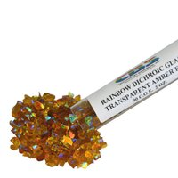 CBS Rainbow Dichroic Frit 1oz on Amber Transparent Glass COE90