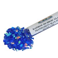 CBS Rainbow Dichroic Frit 1oz on Blue Transparent Glass COE90
