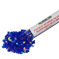 CBS Rainbow Dichroic Frit 1oz on Blue Transparent Glass COE96