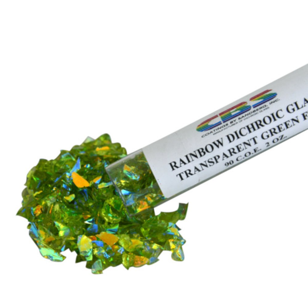 CBS Rainbow Dichroic Frit 1oz on Green Transparent Glass COE90