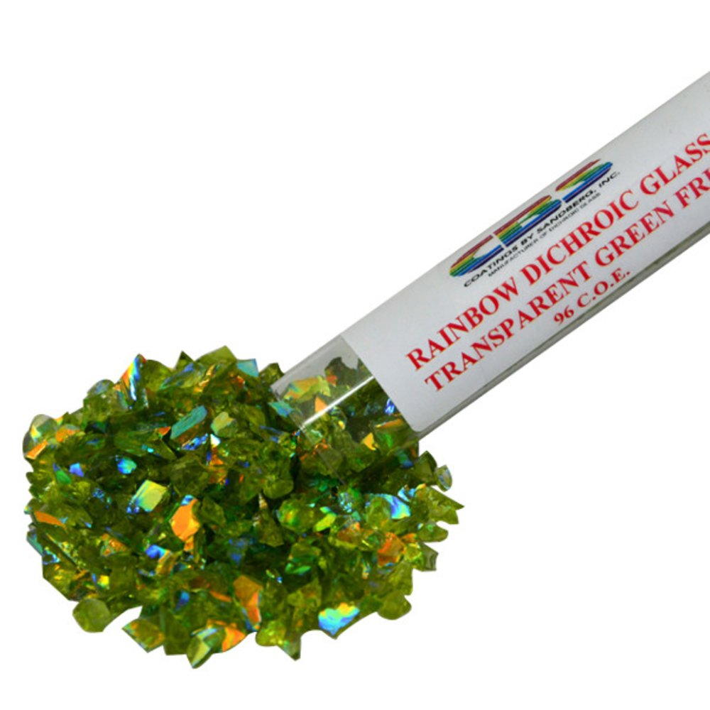 CBS Rainbow Dichroic Frit 1oz on Green Transparent Glass COE96