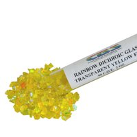 CBS Rainbow Dichroic Frit 1oz on Yellow Transparent Glass COE90