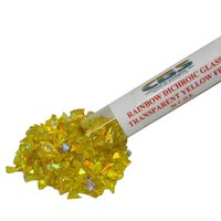 CBS Rainbow Dichroic Frit 1oz on Yellow Transparent Glass COE96
