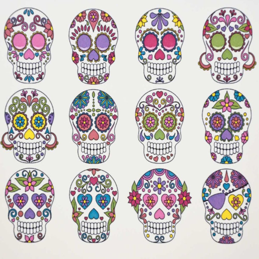 Colorful Sugar Skulls Decal Sheet