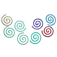 Dichroic Round Fire Spiral, Assorted Colors, Pack of 4 COE96