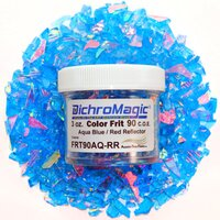 DichroMagic Clear/ Red Dichroic Frit 1oz On Aqua Blue Glass - COE90
