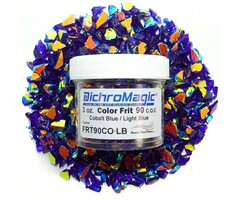DichroMagic Light Blue/ Gold Dichroic Frit 1oz On Cobalt Blue Glass - COE90