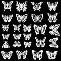 Etched Butterfly Silhouette Pattern