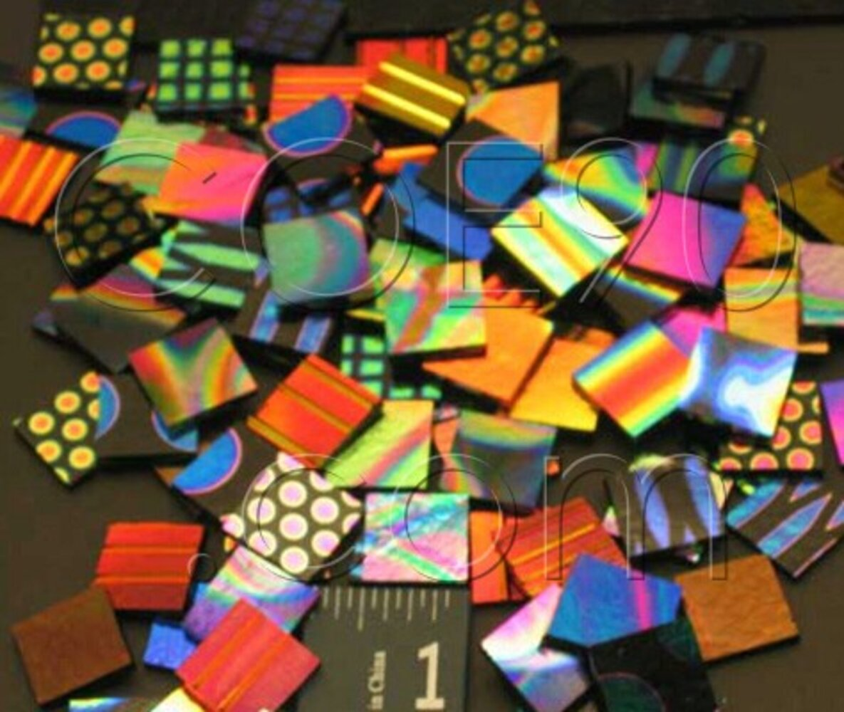 1/2 x 1/2 CBS Dichroic Patterned Squares on 2mm Thin Glass. Mixed Lot of 20 Squares Per Pack. COE90