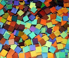 1/2 x 1/2 CBS Dichroic Solid Color Squares on 2mm Thin Glass. Mixed Lot of 20 Squares Per Pack. - COE90