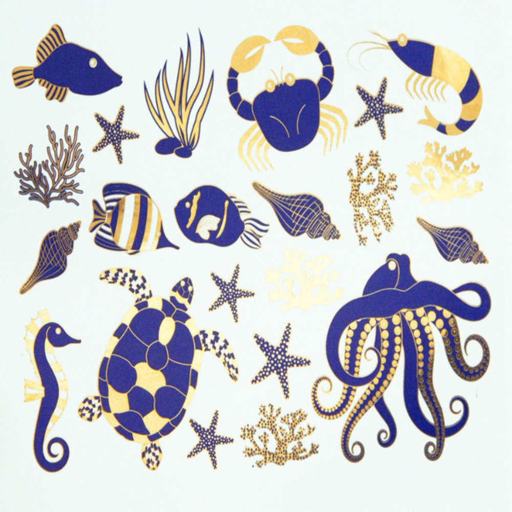 Two Color Ocean Creature Decal Sheet